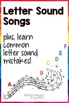 Not all letter sound songs are created alike - we've found the ones that ACCURATELY teach the letter sounds! With these fun songs, you can teach your preschool and kindergarten kids that every letter makes a sound, and know that you're teaching the sounds accurately! These are great beginning phonics songs. Alphabet Sounds Song, Letter Sound Song, Teaching Letter Sounds, Alphabet Songs, Teaching The Alphabet, Alphabet Letters, Abc Activities, Preschool Songs, Preschool Letters