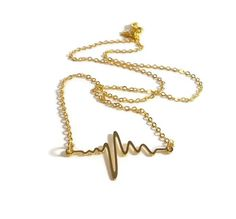 Gold Heartbeat Necklace, 16 inch Necklace, Jewelry for Teen, Heart Beat Necklace, EKG Necklace, Delicate Necklace, Simple Necklace by foreverandrea on Etsy