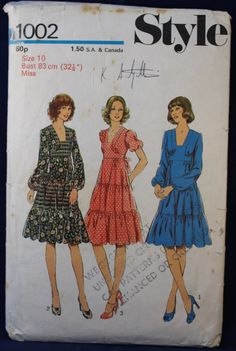 Style Sewing Pattern for a Woman's Dress in Size 10 - Style 1002 by TheVintageSewingB on Etsy