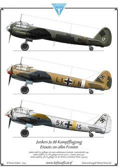 Junkers Ju88 A-5, flown by an unknown Geschwader, most probably 1941 Junkers Ju88 A-4, L1+FN, flown by 5./LG 1, Catania, April 1942 Junkers Ju88A-4, 5K+IS, flown by III./KG 3, Russia, winter 1942/43