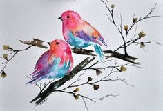 ORIGINAL Watercolor painting,Colorful Birds, Bird Illustration 6x8 inch