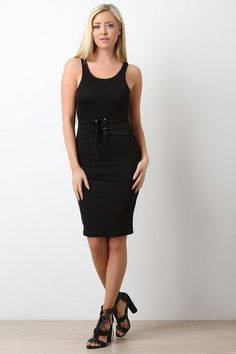 Sleeveless Self-Tie Corset Midi Dress for at KenKay Apparel