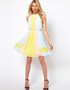 Ted Baker | Ted Baker Pleated Dress in Icecream Colourblock at ASOS