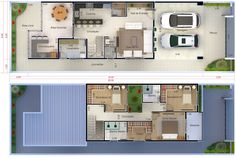 Floor plan with 3 bedrooms - Plans of Houses, Models and Facades of Houses Modern Townhouse, Sierra Vista, House 2, 2nd Floor, Home Projects, Home And Living, House Plans, Floor Plans, How To Plan