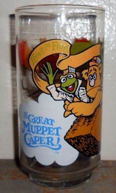 Vintage Glass Muppet's Kermit The Frog Fozzie Bear by TheBackShak