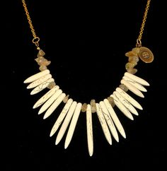 Spiky White Howlite Necklace by elleandbellejewelry,