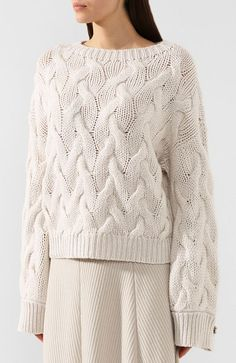 Lace Knitting Patterns, Knitting Designs, Knitwear Fashion, Knit Fashion, Knitted Jumper Outfit, Sweater Design, Brunello Cucinelli, Sweaters For Women, Outfits