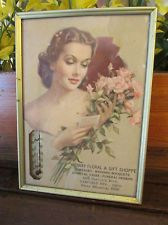 Vintage Litho Advertising Thermometer Garfield Heights OHIO Funeral Flowers Bust