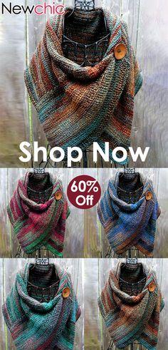 Women's Casual Multicolor Stripes Round Neck Scarves & Shawls - Stirnband Stricken Sewing Scarves, Crochet Scarves, Crochet Shawl, Crochet Clothes, Knit Crochet, Neck Scarves, Womens Scarves, Knitting Patterns, Ideias Fashion