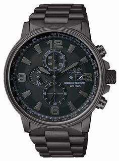 """Soar to new heights with the flight-inspired Nighthawk, which exemplifies the current """"blackout"""" aesthetic. This 1/5 second chrono measures up to 60 minutes, with 12/24 hour time & tachymeter. Shown i"""