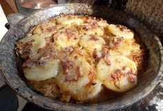 This is a wee bit French but with little butter and no cream. A Gruyere cheese is nice and nutty and melts well but is mild. I use a sharp old white cheddar with great results. The recipe is for 6 servings, but I usually halve it. Potato Dishes, Potato Recipes, French Food At Home, Alsatian, Cheese Potatoes, Gruyere Cheese, Vegetable Side Dishes, Cooking Recipes, Yummy Food
