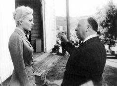 Kim Novack and Alfred Hitchcock on the set of Vertigo (1958).