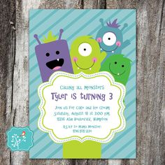 Monster Birthday Party Invitation Little Monster by AFlairForPaper
