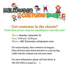 Try a Halloween Costume Swap at your school! Fun PTO or PTA event. Get the free flyer from our File Exchange.