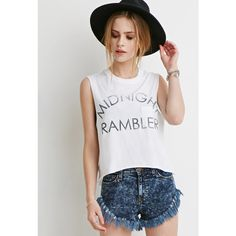 Forever 21 Women's  Midnight Rambler Muscle Tee ($13) ❤ liked on Polyvore featuring tops, leather tank, evening tops, leather top, special occasion tops and cut off tank