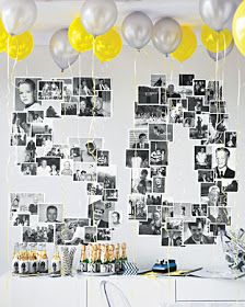 Backdrop - black/white pictures with yellow and white balloons  -beautiful