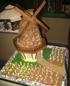 Gingerbread Windmill: This beautiful Dutch Windmill and Tulips is another incredible Teen winner of the 2009 National Gingerbread House Competition at the Grove Park Inn.  It