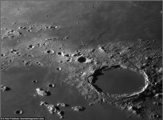 The crater known as Plato is photographed on the surface of the moon by Alan Friedman