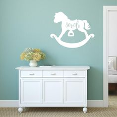 Rocking horse with name Monogram Wall Decals, Cleaning Walls, Single Sheets, Baby Room, Nursery, Names, Horses, Colours, Box