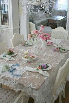 Shabby Chic Chandelier & Lace