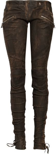 Balmain Laced Leather Pants in Brown | Lyst