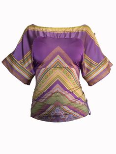 Fashion Deals, Blouse Styles, Roberto Cavalli, Printed Blouse, Bell Sleeve Top, Purple, Prints, How To Wear, Stuff To Buy