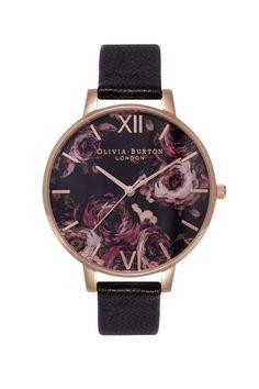 **Olivia Burton Painterly Prints Black & Rose Gold OB15PP03 Watch
