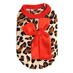 Cat Dog Sweatshirt Vest Red Rose Dog Clothes Winter Spring/Fall Leopard Fashion Casual/Daily