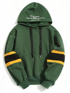 Pullover Contrast Color Hoodie - GREEN XL