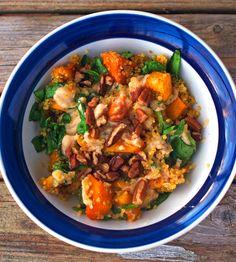 Spicy-Sweet Squash Bowl: quinoa, butternut squash, spinach, cilantro, pecans,  white bean hummus