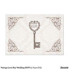 Vintage Love Key Wedding RSVP