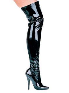 6 Inch Pointed Heel Black Womens Stretch Lycra Thigh High Costume