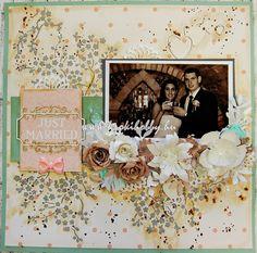 Mi is lehetne ideálisabb téma egy scrapbook oldalhoz, mint az esküvő? Ma egy gyönyörű esküvői oldalt mutatunk be nektek. / Today we show you a beautiful wedding layout.