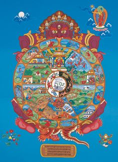 "The Wheel of Life (Bhavachakra) - painting by Peter ""Zotec"" Newman… Buddhist Wheel Of Life, Buddhist Art, Mahayana Buddhism, Buddhist Practices, Buddhist Traditions, Thangka Painting, Into The West, Medicine Wheel, Circle Of Life"