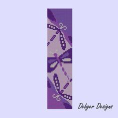 Free+Loom+Bead+Patterns   Acai Berry Dragonflies Loom Bracelet Cuff by Debger Designs