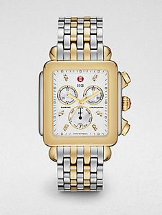 Michele Watches Deco XL Diamond-Accented Two-Tone Bracelet Watch
