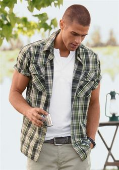 761012c3a1c Plaid short-sleeve button down. Loving the grey leather belt - Hating the  double white layers. jana holmes · men s button-down shirts