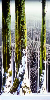 """""""Tall Trees in Snow"""" oil painting by Eyvind Earle"""