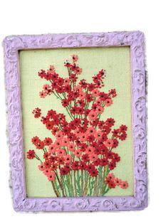 crewel flowers framed