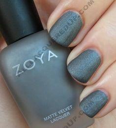 "zoya ""loredana"" - chalky charcoal shimmer matte (looks like brushed steel!)"