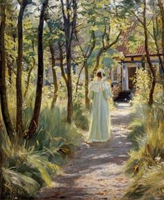 Marie In The Garden by Peter Severin Kroyer