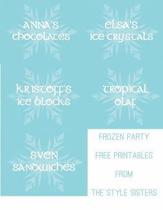 Disney's Frozen party Food Labels Free Printables   The Style Sisters