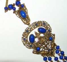 VINTAGE ART DECO CZECH LAPIS GLASS FILIGREE PENDANT NECKLACE MAY BE NEIGER