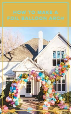 Foil balloons can take a regular balloon arch to the next level. Follow this simple tutorial to add some color and shine to your next party or photoshoot!  balloon arch, party decor, diy party decor, bday backdrop, party, celebration, event decor, balloons, colorful party decor, birthday party, wedding decor, balloon decor, diy photo backdrop, foil balloons, rainbow