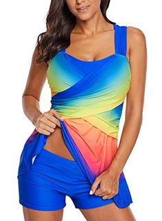 0451f6567c1e FARYSAYS Women's Ladies Plus Size No Underwire Ombre Tie Dye Swim Dress  Tankini #fashion #