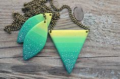 Statement triangle neon necklace Ombre geometric by JustBetter