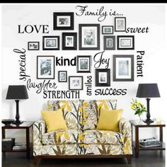 Special words for family photo displays