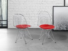 Dining Chair - Chromed Chair - Kitchen Chair - Red - MULBERRY