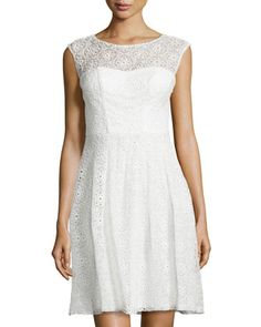 Floral Eyelet Cocktail Dress, White by Sue Wong at Neiman Marcus Last Call.