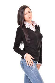 Shirt Black Knitted Blouse Oversize Blouse Plus Size Maxi Blouse Shirt Imitation Blouse Women Blouse Elegant Blouse